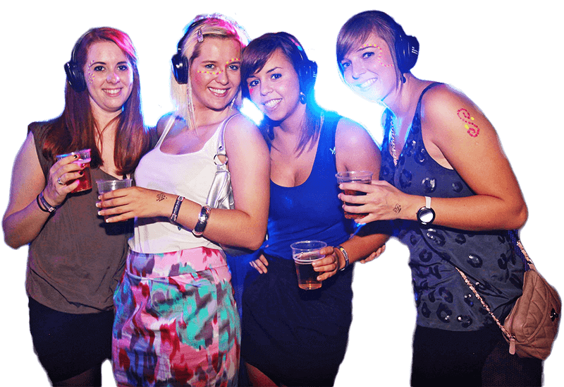 Headphone disco clubbers enjoying the event